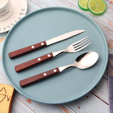 Wooden Handle Flatware Set Stainless Steel Spoon Fork