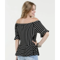 Women's Black and White Striped Off Shoulder Shirt