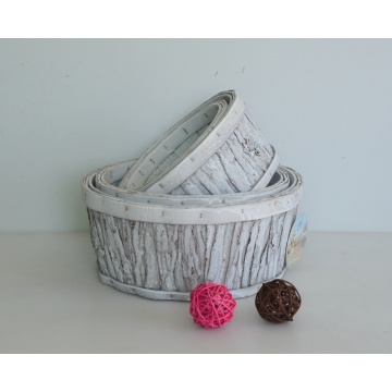 Round wash white wood bark handicarft flower basket