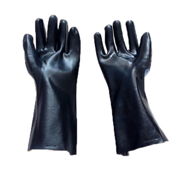 Black PVC cotton gloves.Smooth finish. 35cm
