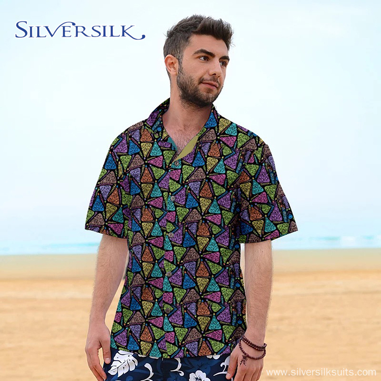European Vintage Flower Printed Mens Casual Hawaiian Shirt