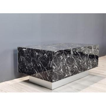Black Marble Texture Glass MDF Coffee Table