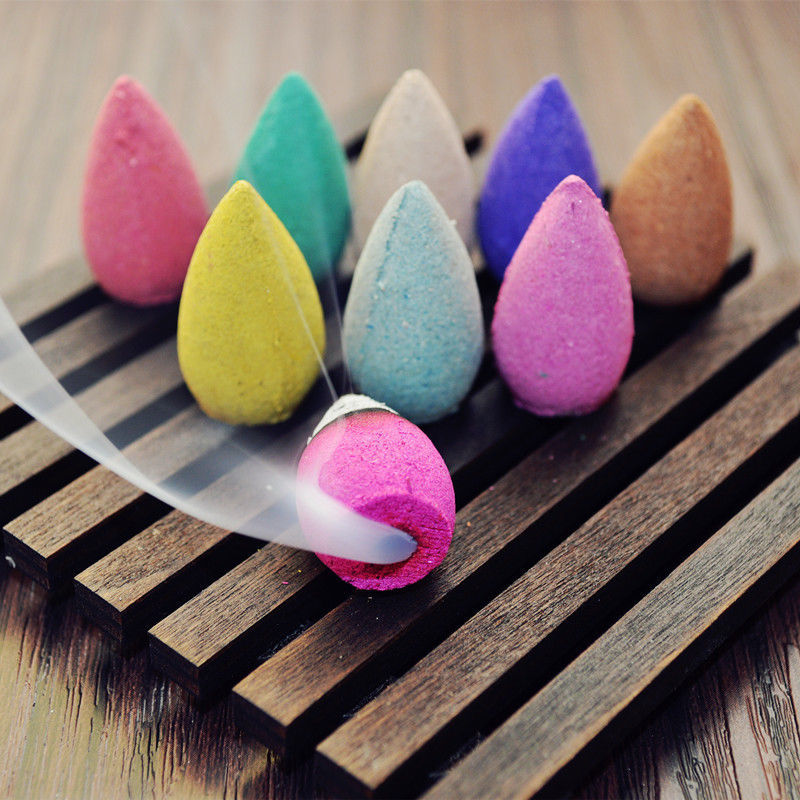 20PCS Floral Incense Cone With Tray Colorful Fragrance Scent Tower Incense Mixed Scent Aromatherapy Fresh Air Aroma Spice