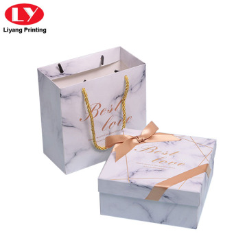 Marble Design Paper Gift Box with Ribbon Bow