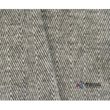 Black White Herringbone Wool Alpaca Viscose Blend Fabric