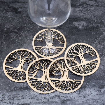 Tree Coaster, Flower Of Life Wooden Coaster,Drink Holder Wood Gift, Water Harmoniser Spiritual Wooden Beverage coaster