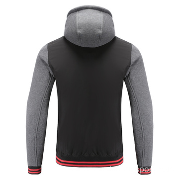 Mens Soccer Wear Zip Up Hoodies Grey Melange