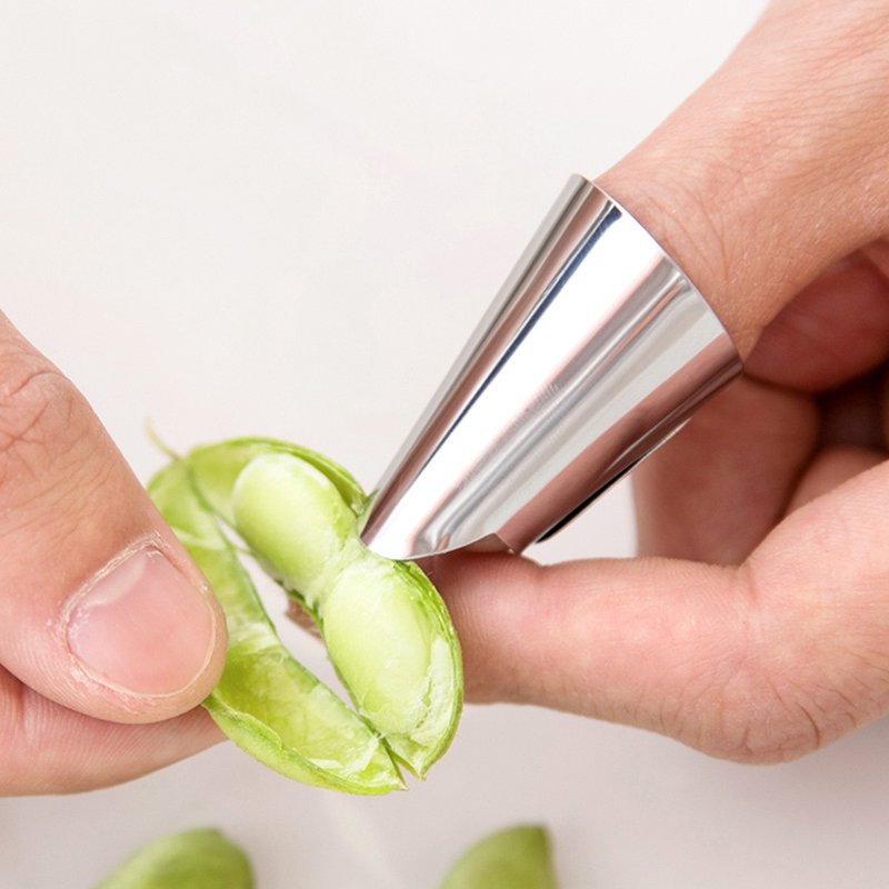 Stainless Steel Peeling Finger Protector Home Kitchen Multifunctional Broad Bean Eel Bean Shelling Tools Nail Cover