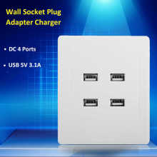 5V 3.1A DC 4 Ports USB Electric Wall Charger Dock Station Socket Power Outlet Panel Plate Switch Power Supply Adapter Plug