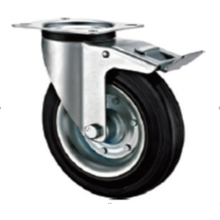 100  mm European  industrial rubber  swivel  casters with brakes