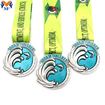 Custom metal finisher race glitter medals