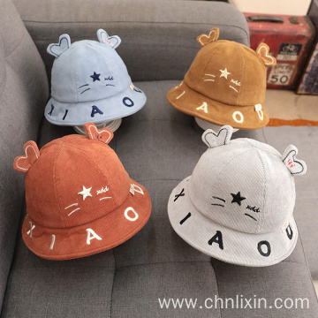 Children bucket hat polar fleece beanie winter hats