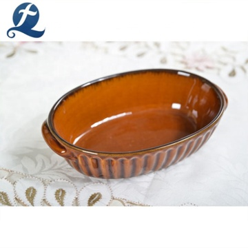 Creative ceramic  oval shape bread baking pan tray
