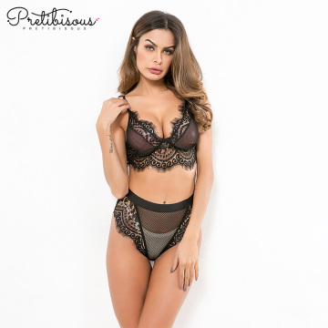 Womens Stretch Lace and Fishnet Bra Set