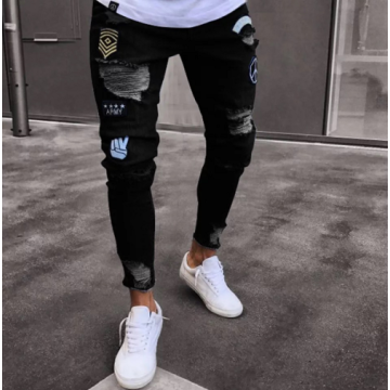 Mens Hot Selling Elastic Multi-hole Slim Denim Jeans