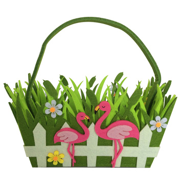 Easter grass bag with flamingo pattern