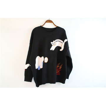 Dark Black Knitted Cashmere Sweater