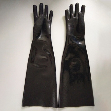 65cm Black PVC coated chemical gloves