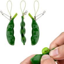 1pc Fun Beans Squishy Squeeze Peas Keychain Phone Decor Magic Cute Reduce Pressure Extrusion Soybean Toy Creative Christmas Gift