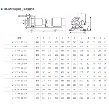 MT-HTP stainless steel high temperature magnetic pump
