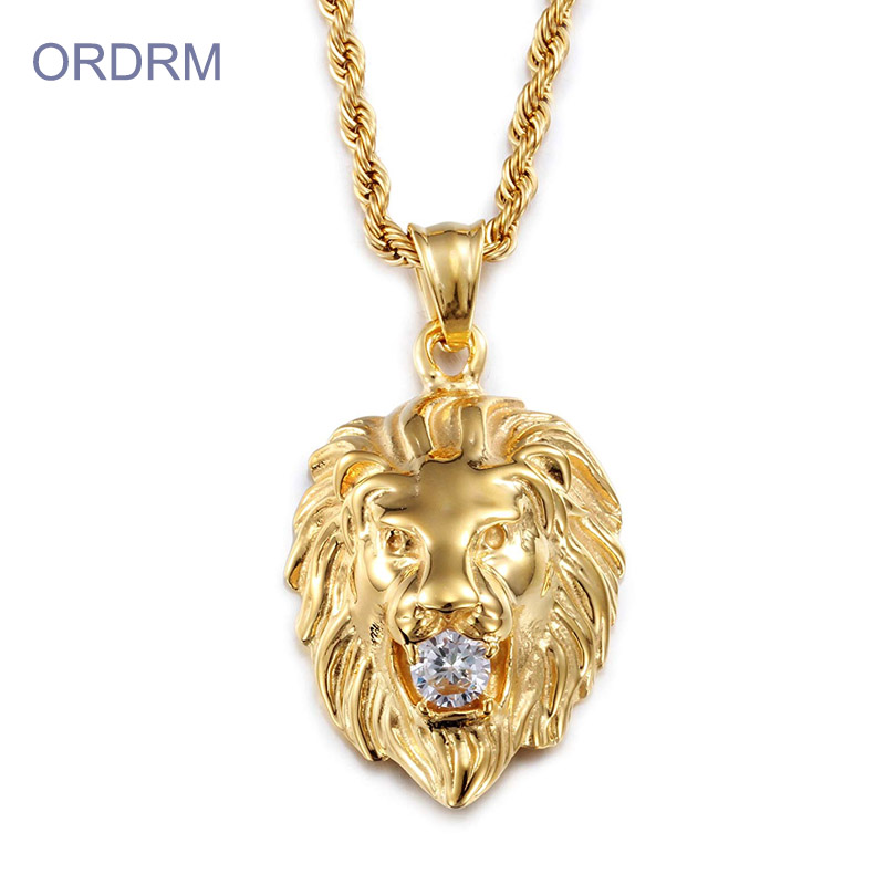 Punk Gold Plated Lion Charm Necklace For Men