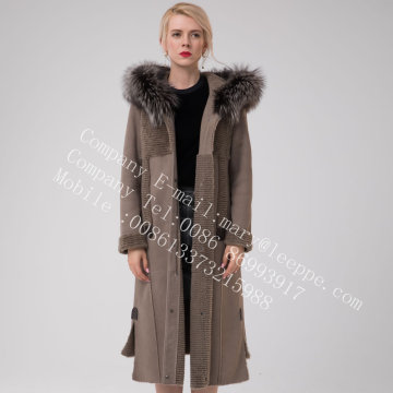 Winter Long Hooded Australia Merino Shearling Coat Gray