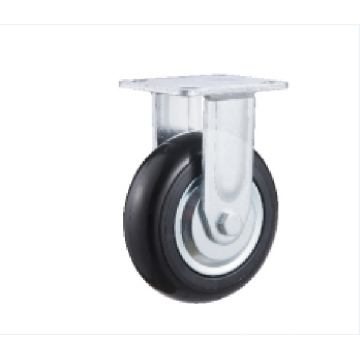 8inch Fixed Black Round PU with Steel Cover Castors