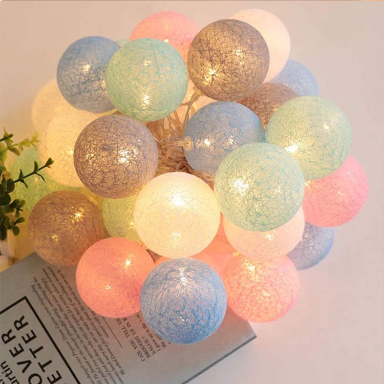 2 aa battery led cotton ball string light