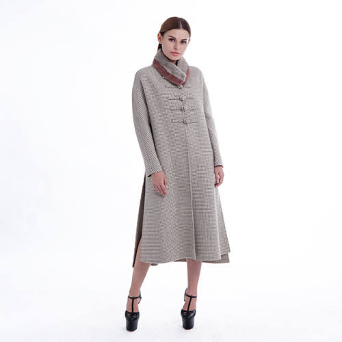Retro-style cashmere overcoat with erect collar
