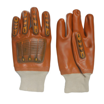 Brown PVC coated gloves with TPR