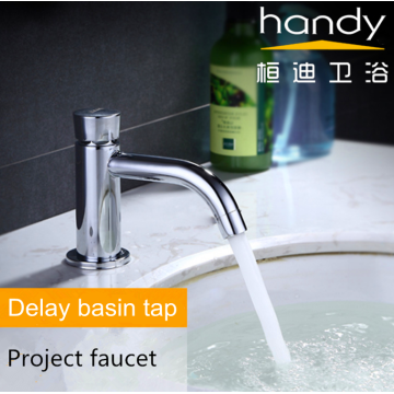 Push-type long curved mouth basin delay faucet