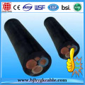 Flat 3 Cores EPR Natural Pure Rubber Copper Wire