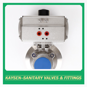 Sanitary pneumatic tank bottom ball valves