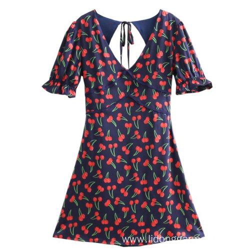 V-neck Bubble Sleeve Cherry Printed Backless dress