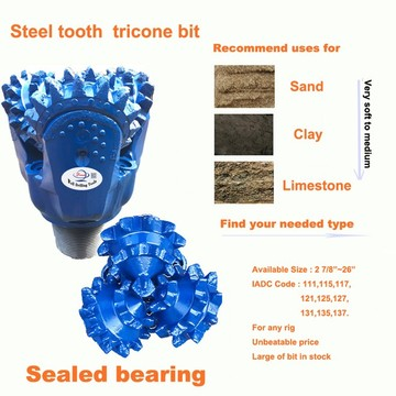 "12 1/4"" steel tooth tricone rock roller bit"