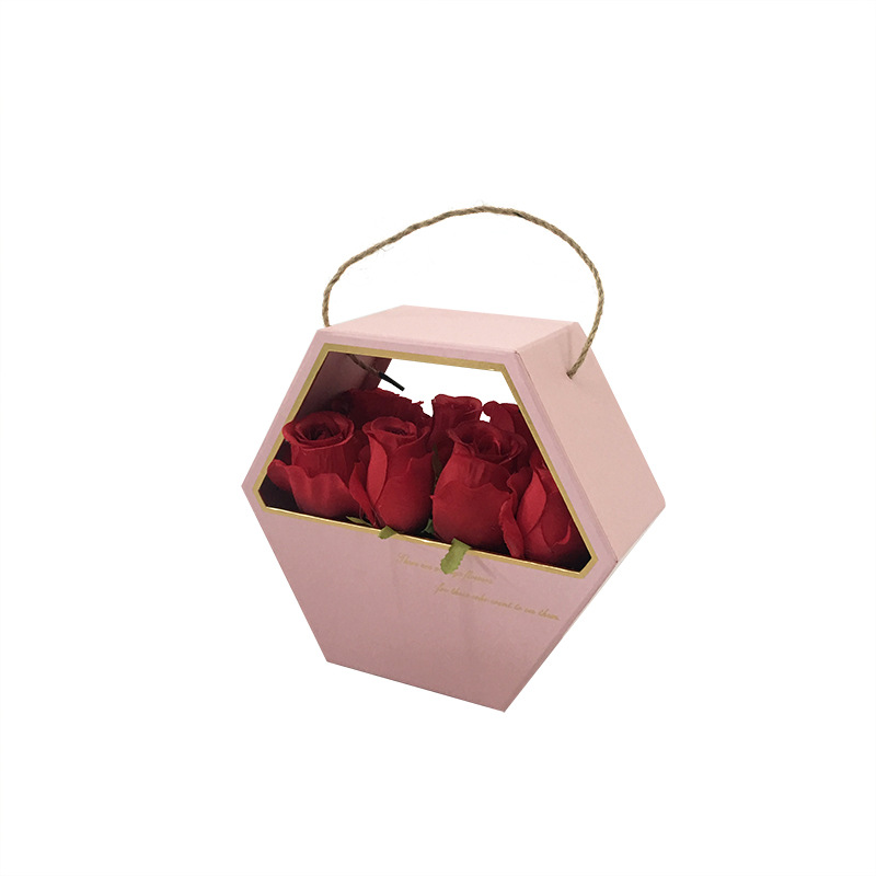Portable flower packaging box round