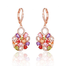 Fashionable Multicolor Stone Round Earrings for Women