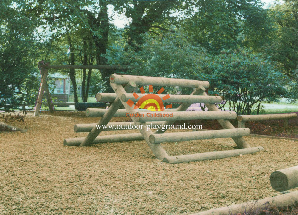 outdoor log frame tunnel net climber for children
