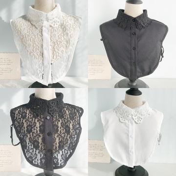 2020 Women Cotton Lace Fake Collar Blouse Vintage Detachable Shirt Collar False Collar Lapel Blouse Women Clothes Accessories
