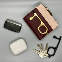 Portable Press Elevator Tool Hygiene Hand Antimicrobial Alloy Door Opener Elevator Handle Key Bag Hook Isolation Hand Stick