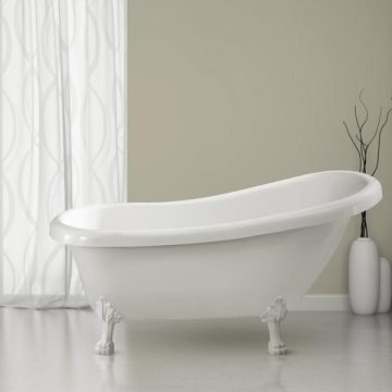 Luxury 59 Inch Clawfoot Black Freestanding Bathtub