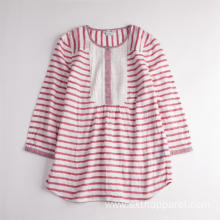 Girls' Cute Striped Long Sleeve Breathable Summer Shirt