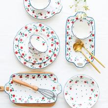 Ceramic Floral Pattern Plate Set Tableware Set Household Plate Rural Style Dish Plate Rice Bowl Soup Bowl Noodle Bowl Mug