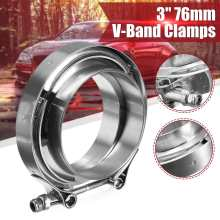 3 Inch 76mm Universal Car Exhaust Turbo Down Pipe Flanges V-Band V Bands Clamp Hoop Stainless Steel Clamps