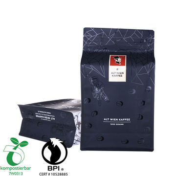 Compostable packaging coffee bags with one-way gassing valve and zipper
