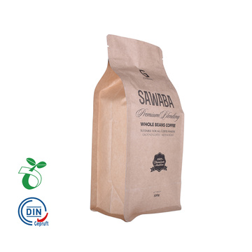 flat bottom kraft paper coffee bags with valve