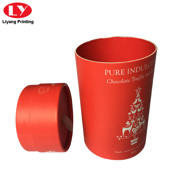 Paper Red Round Chocolate Bar Packaging Box
