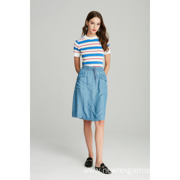 blue tencel denim elastic waist ladies skirt