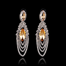 Gold Sparkly Crystal Women Fashion Earrings