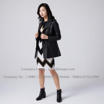 Women Black Short Leather Jacket